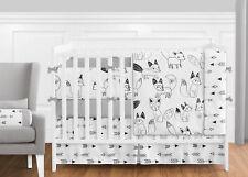 Sweet Jojo Gray, Black and White Arrow Fox 9pc Boy Girl Crib Baby Bedding Set