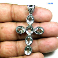 Green Amethyst Gemstone Pave Diamond 925 Sterling Silver Cross Pendant ODS41