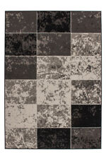 Teppich Flachflor Vintage Design Patchwork Elfenbein Creme Grau Braun 120x170cm