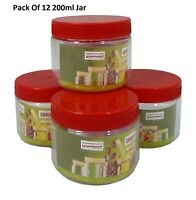 12 X 200ml Plastic Storage Jars Containers Canisters Pots Screw Top Spice Jar