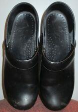 DANSKO women amazing black leather clogs size 38 FREE SHIPPING