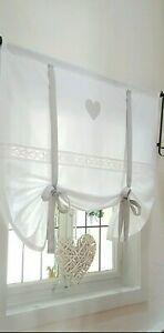 Gardine Raffrollo Spitze Herz grau v.Breite ab 80-200cm  Landhaus Shabby Vintage