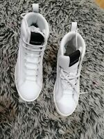 New White Leather Lace Up High Top Trainers Bikkembergs Light Size 4/37 rrp£225