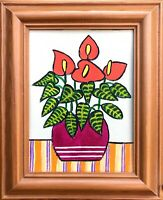 Original Painting Red Anthurium Houseplant,Folk/naive Art, In Pine Frame