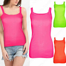 NEW WOMENS STRETCH RIB STRAP NEON VESTS COTTON TOP PLAIN VEST LADIES SUMMER TOPS