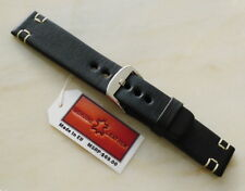 2x-tan U box stitch. Eu handmade strap Black leather 24mm watch band full grain,
