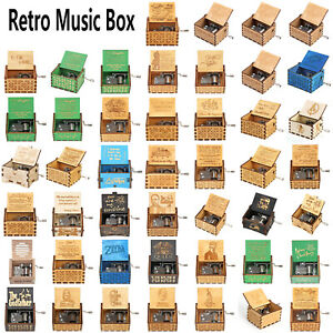 Retro Hand Crank Music Box Engraved Wooden Music Box InterestingToy Kids Gift