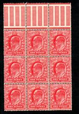 Sg 219 1d SCARLET. BLOCK OF 9 UNMOUNTED MINT