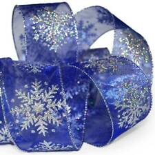 25 Foot Spool Christmas Blue Iridescent Silver Snowflakes Sheer Wired Ribbon