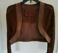 PRE-OWNED MARGARET GODFREY WOMENS LEATHER KNITTED SLEEVE JACKET SIZE M  BROWN