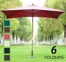 3m x 2m Wood Wooden Garden Parasol Sun Shade Patio Outdoor Umbrella Canopy New