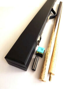 """2 PIECE SPLIT 57"""" ASH POOL Or SNOOKER CUE With HARD CASE & CHALK SET - GIFT"""
