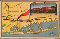 Rockville Centre LI NY ~ Niederstein's Restaurant & LI Map ~ Nassau County Linen