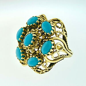 VINTAGE 14K SOLID YELLOW GOLD TURQUOISE  CLUSTER RING ~9  GRAMS