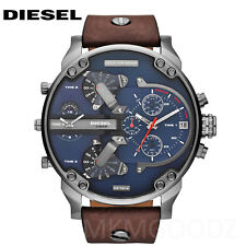 New Diesel DZ7314 Mr.Daddy 2.0 Navy Blue Dial Brown Leather Gunmetal Men's Watch