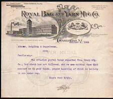 1908 Charleston SC Royal Bag & Yarn Mfg Co A C Tobias Frank Burbidge Letter Head
