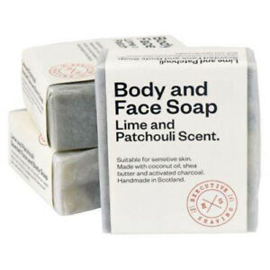 3 x Lime & Patchouli All Natural Body Face & Pre Shave Soaps 160g All Skin Types