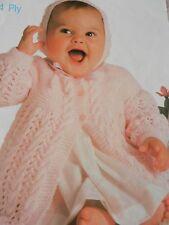 "Baby Childs Girls Boy Matinee Coat Bonnet 16-20"" Chest 4 Ply Knitting Pattern"