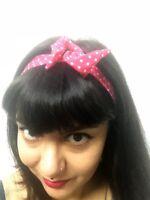 Bandeau foulard cheveux rigide cordon maléable rose framboise pois blancs pinup