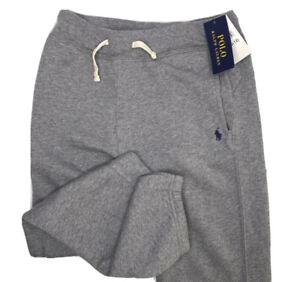 Polo Ralph Lauren Joggers Fleece Sweatpants Heather Grey Pony Youth M 10-12 NWT