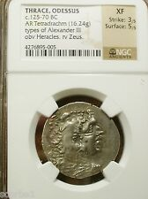 THRACE, ODESSUS ALEXANDER THE GREAT 125-70 BC AR TETRADRACHM XF NGC 3/5 & 5/5