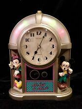 Mickey & Minnie Mouse Seiko Jukebox Musical Alarm Clock  1987 Works Disney