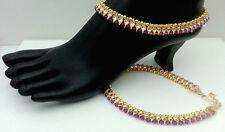 Indian Elegant Anklet Bracelet 22KGP Kundan Bridal Red Payal Set Pair #340