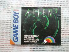 Notice Game Boy Nintendo  / Alien 3 fah manuel Booklet *