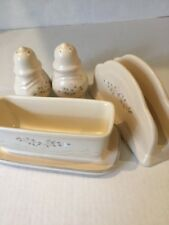5 Pieces Pfaltzgraff Remembrance Napkin Holder Salt & Pepper shakers,Butter Dish