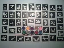40 stencil τατουάζ για τατουάζ glitter + 10 χρώματα glitter αγόρια κορίτσια Φ.Π.