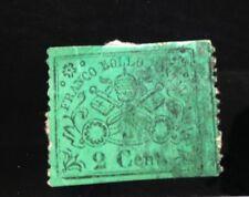 VATICANO FRANCO BOLLO POSTALE 1852/67- VERDE   2 CENT-  LINGUETTA SUL RETRO -