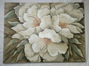 """LEE REYNOLDS SIGNED ORCHIDS FLOWERS TEXTURED OIL PAINTING ART 40""""x30"""""""