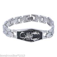 1 Herren Armband Armkette Armreif Modeschmuck Skorpion Punk Silber 20cm Neu