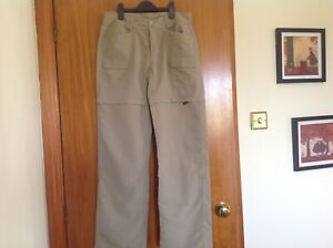 The North Face Cream Hiking Walking Trousers Zip Off Shorts Pockets SIZE 8 Ex Co