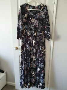 City Chic Multi-Coloured Floral Long Sleeve Maxi Dress Size L