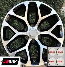 "22 x9"" inch GMC Yukon Factory Style Snowflake Wheels Machined Black Rims 6x139.7"