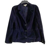St. Johns Bay Womens L Large Corduroy Blazer Jacket Vtg 90s Navy Blue w/ Pockets