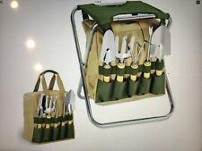 Gardening Tool Set With Tote And Folding Seat - 5 Pieces