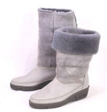 C79 Damen Lammfellstiefel Boots Leder grau Gr. 37 Wedge Boho Slouch ungetragen