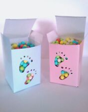 24 BLUE or PINK Footprint Candy BOXES Baby  feet Shower party supplies favors