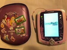 PINK DISNEY PRINCESS LEAP FROG LEAPPAD 2 KIDS TABLET CONSOLE +2 GAME CARTRIDGES