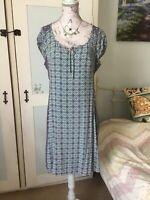 Pepperberry Bravissimo Turquoise Geo Tile Summer Day Dress Size 12 Curvy