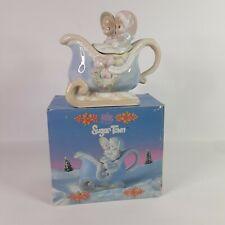 Precious Moments Teapot Sugar Town Couple in Sleigh 1994 in Original Box