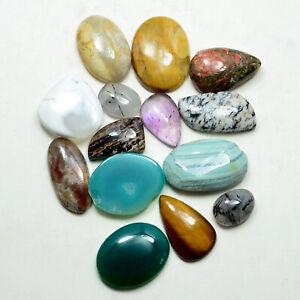 192.95 Carat 100%Natural Mixed Gemstone Wholesale Lot Cabochon Agate Jasper