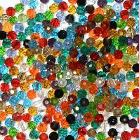 CRBXX378 Assorted Mixed Color & Finish 4mm Faceted Round Crystal Glass Bead 500p
