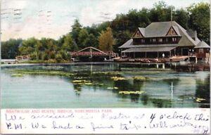 Boathouse Rustic Bridge Norumbega Park Auburndale-On-The-Charles MA Postcard D70