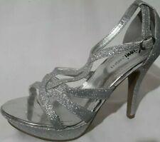Fioni Night SZ 6.5 Silver Glitter Strappy Slingback Sandals 4.5 In Stiletto Heel