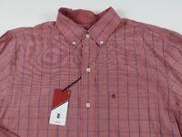 NEW Izod Mens Cotton LS Button Down Light Red Blue Checkered Plaid Dress Shirt M