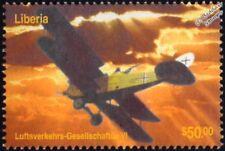 WWI LVG C.VI (Luft-Verkehrs-Gesellschaftue VI) Aircraft Stamp (2003 Liberia)