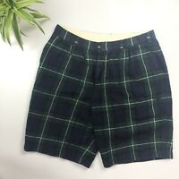 CDG Comme Des Garçons - 100% Wool Navy & Green Tartan Shorts - Size Medium (W32)